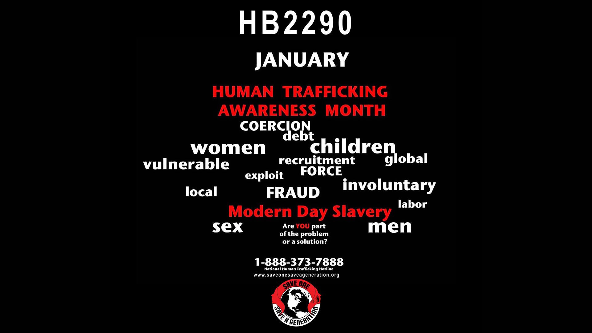 HB 2290 - Human Traffick Awareness Month